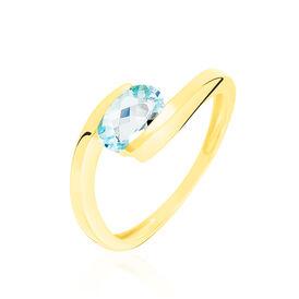 Spannring Gold 333 Blauer Topas  - Ringe mit Stein Damen | Oro Vivo