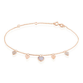 Damen Charmarmband Gold 375 Zirkonia Perlmutt Herz -  Damen | Oro Vivo