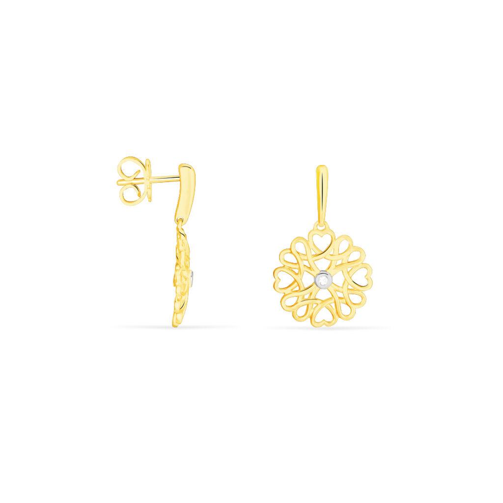 Damen Ohrstecker Lang Gold 375 Diamant Blume  - Ohrstecker lang Damen | Oro Vivo