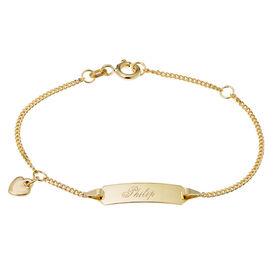 Kinder Id Armband Panzerkette Gold 585 Herz - ID-Armbänder Kinder   Oro Vivo