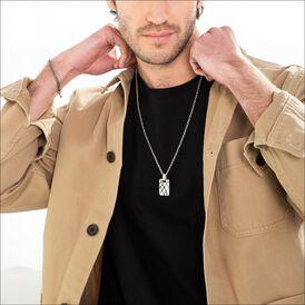 Herren Halskette Silber 925 Dog Tag - Ketten mit Anhänger    Oro Vivo