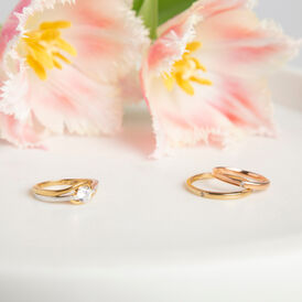 Damenring Roségold 375 Diamant 0,007ct - Eheringe Damen   Oro Vivo