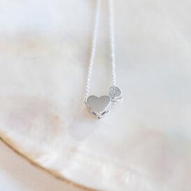 Damen Halskette Silber 925 Zirkonia Herz - Herzketten  | Oro Vivo