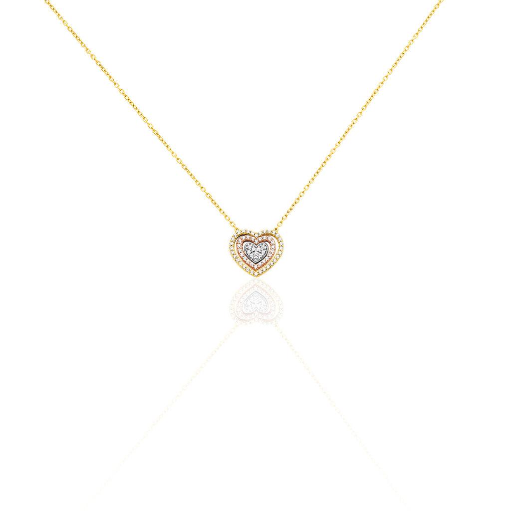Damen Halskette Gold 375 Tricolor Zirkonia Herz - Herzketten Damen | Oro Vivo