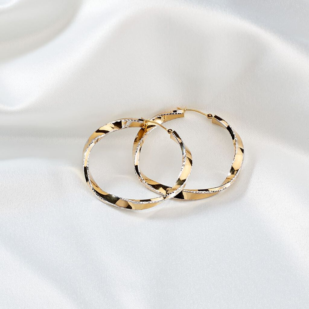 Damen Creolen Gold 375 Bicolor 25mm - Creolen Damen | Oro Vivo