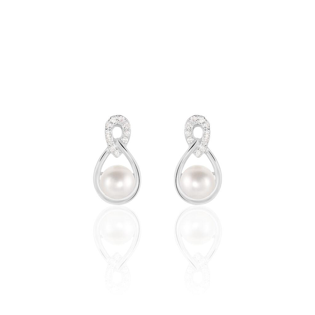 Damen Perlenohrringe Weißgold 375 Zuchtperlen - Ohrstecker Damen | Oro Vivo