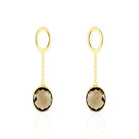 Damen Ohrstecker Lang Gold 375 Rauchquarz - Black Friday Damen   Oro Vivo