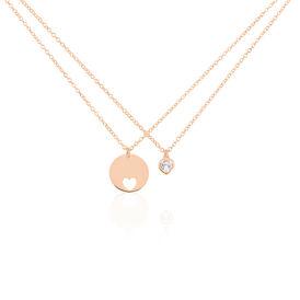 Damen Halskette Silber 925 Rosé Vergoldet - Herzketten Damen | Oro Vivo