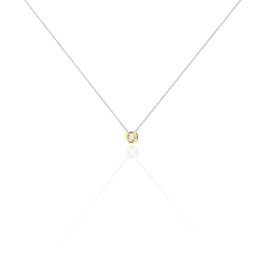 Damen Halskette Gold 585 Bicolor Diamant 0,1ct - Ketten mit Anhänger Damen   Oro Vivo