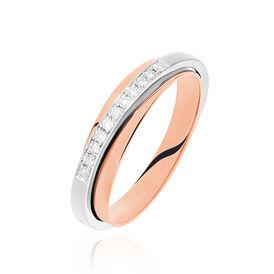 Damenring Gold 585 Bicolor Diamanten 0,13ct - Eheringe Damen | Oro Vivo