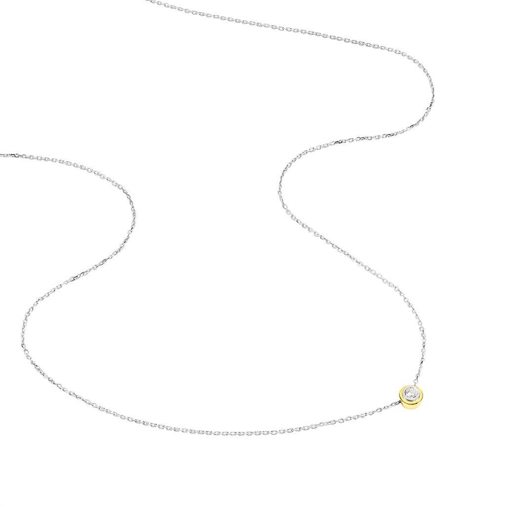 Damen Halskette Gold 585 Bicolor Diamant 0,07ct - Ketten mit Anhänger Damen | Oro Vivo
