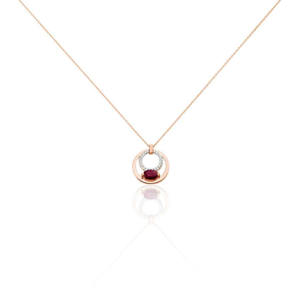 Damen Halskette Gold 375 Rosé Vergoldet Rubin - Ketten mit Anhänger Damen | Oro Vivo