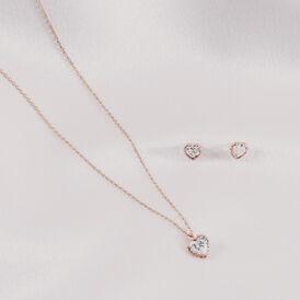 Damen Halskette Gold 375 Rosé Vergoldet Zirkonia - Herzketten Damen   Oro Vivo