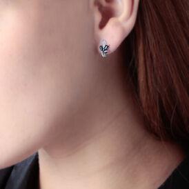 Damen Ohrstecker Weißgold 375 Saphir Diamant - Ohrstecker Damen | Oro Vivo