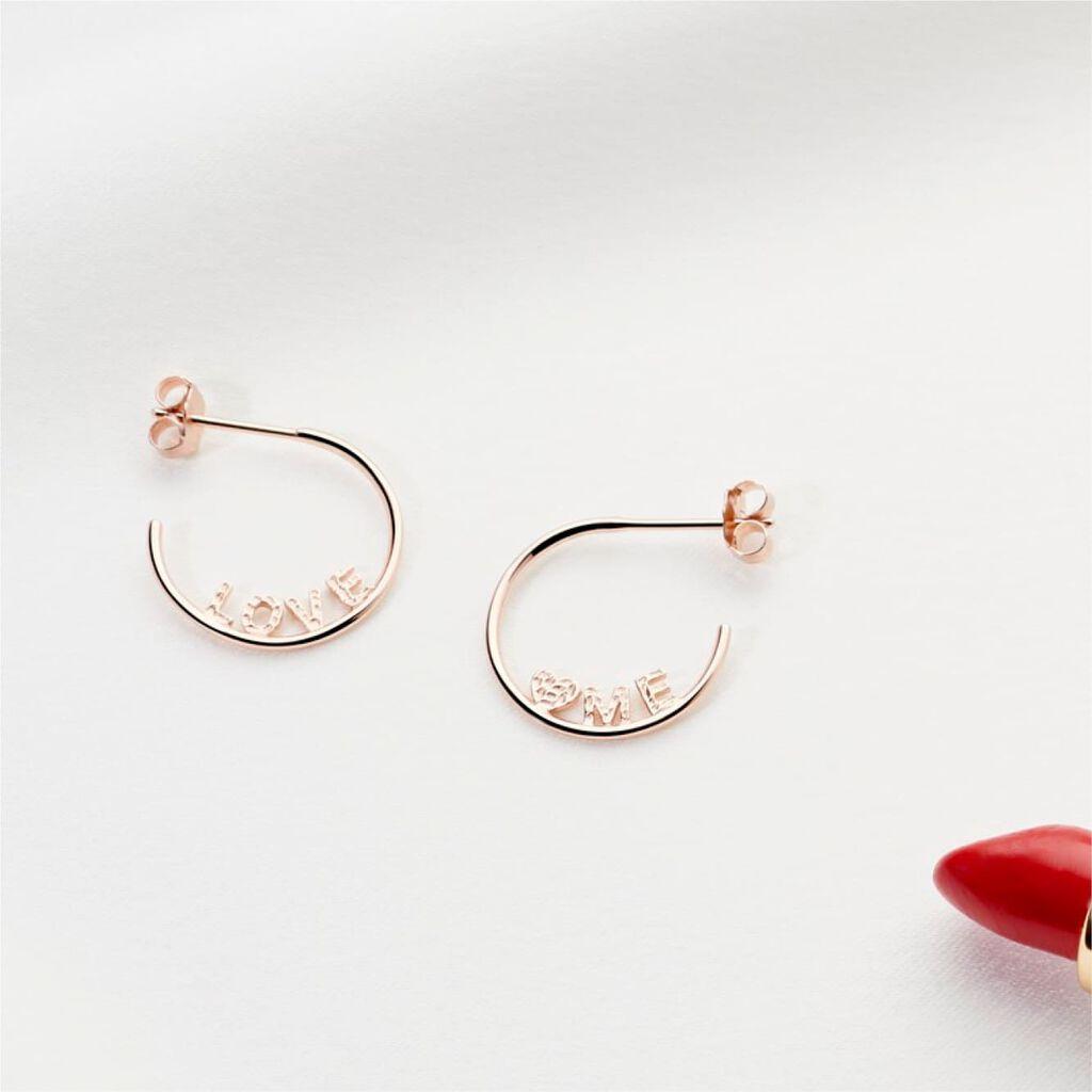 Damen Steckcreolen Silber 925 Rosé Vergoldet  - Creolen Damen | Oro Vivo