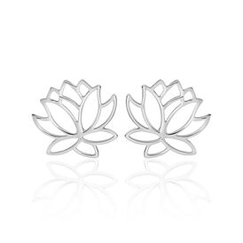 Damen Ohrstecker Silber 925 Rhodiniert Lotus - Ohrstecker  | Oro Vivo