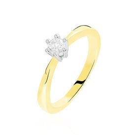 Solitärring Gold 375 Bicolor Diamant 0,2ct - Ringe mit Edelsteinen Damen | Oro Vivo