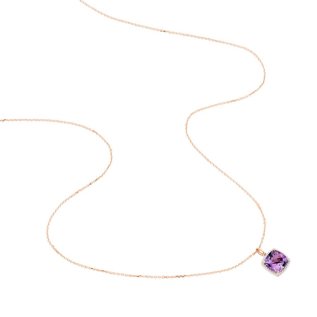 Damen Halskette Gold 375 Rosé Vergoldet Ametyst - Ketten mit Anhänger Damen | Oro Vivo