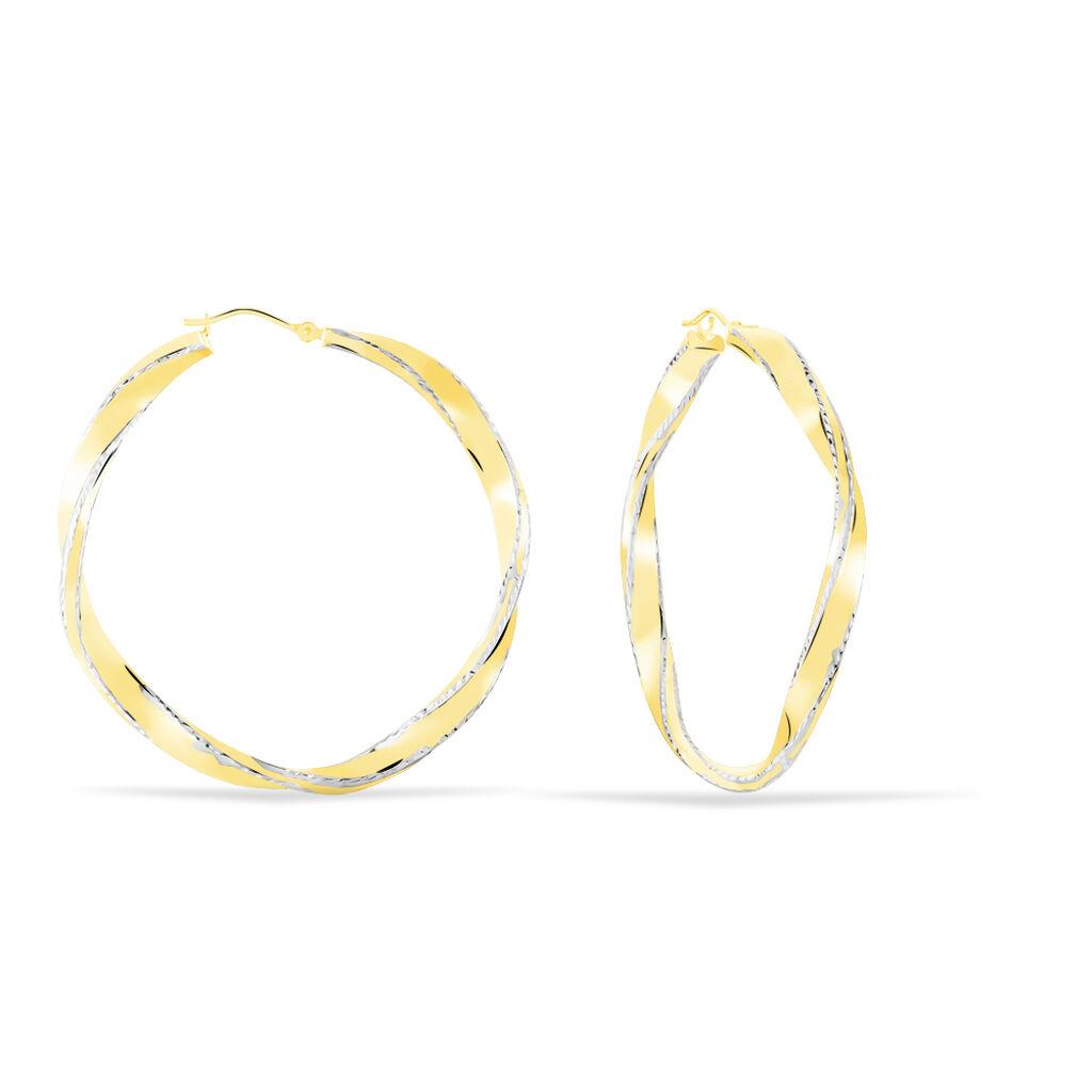 Damen Creolen Gold 375 Bicolor 45mm - Creolen Damen | Oro Vivo