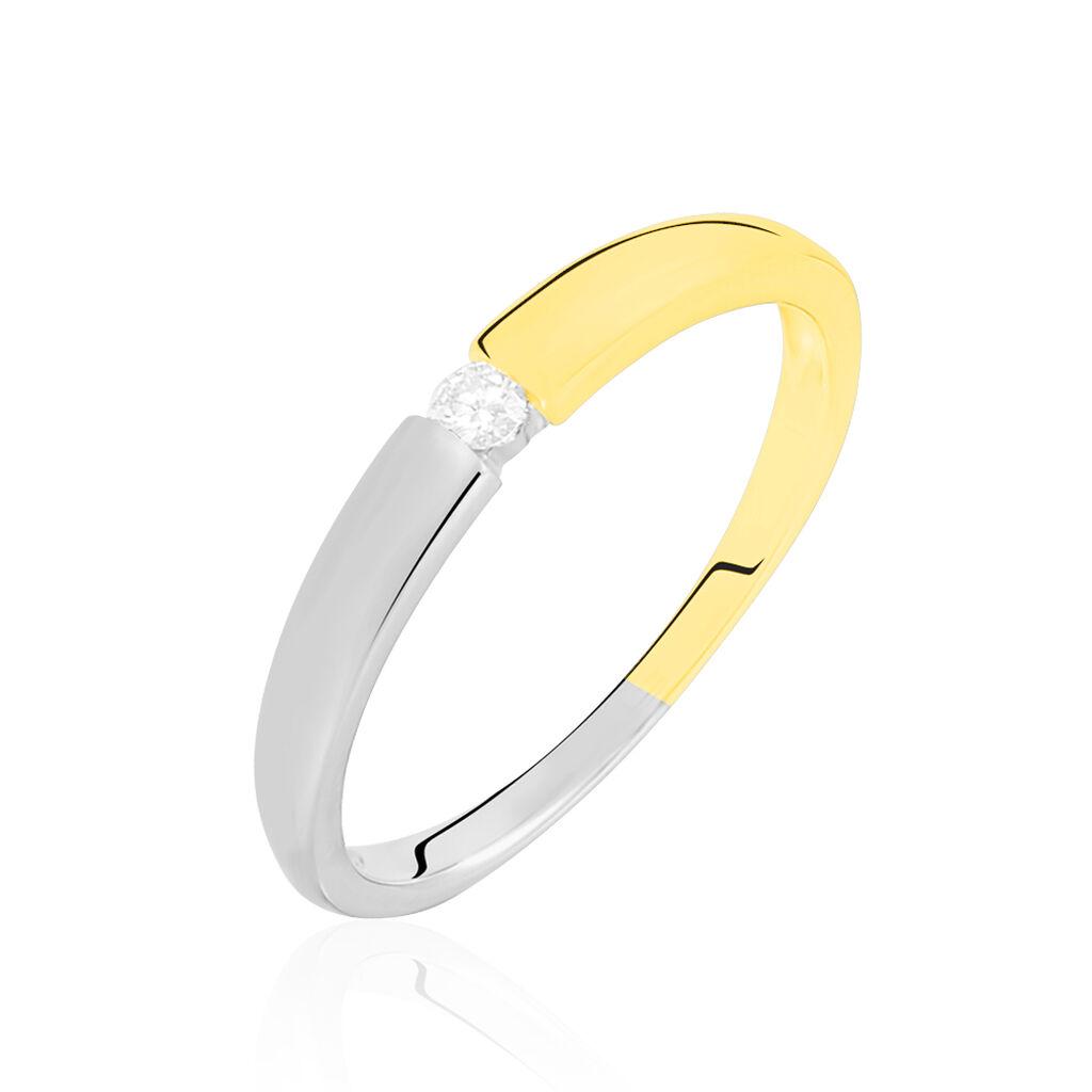 Spannring Gold 375 Bicolor Diamant 0,05ct - Ringe mit Edelsteinen Damen | Oro Vivo