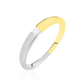 Spannring Gold 375 Bicolor Diamant 0,05ct - Ringe mit Edelsteinen Damen   Oro Vivo