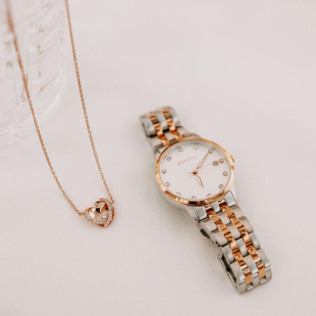 Damen Halskette Silber 925 Rosé Vergoldet Herz - Herzketten Damen | Oro Vivo
