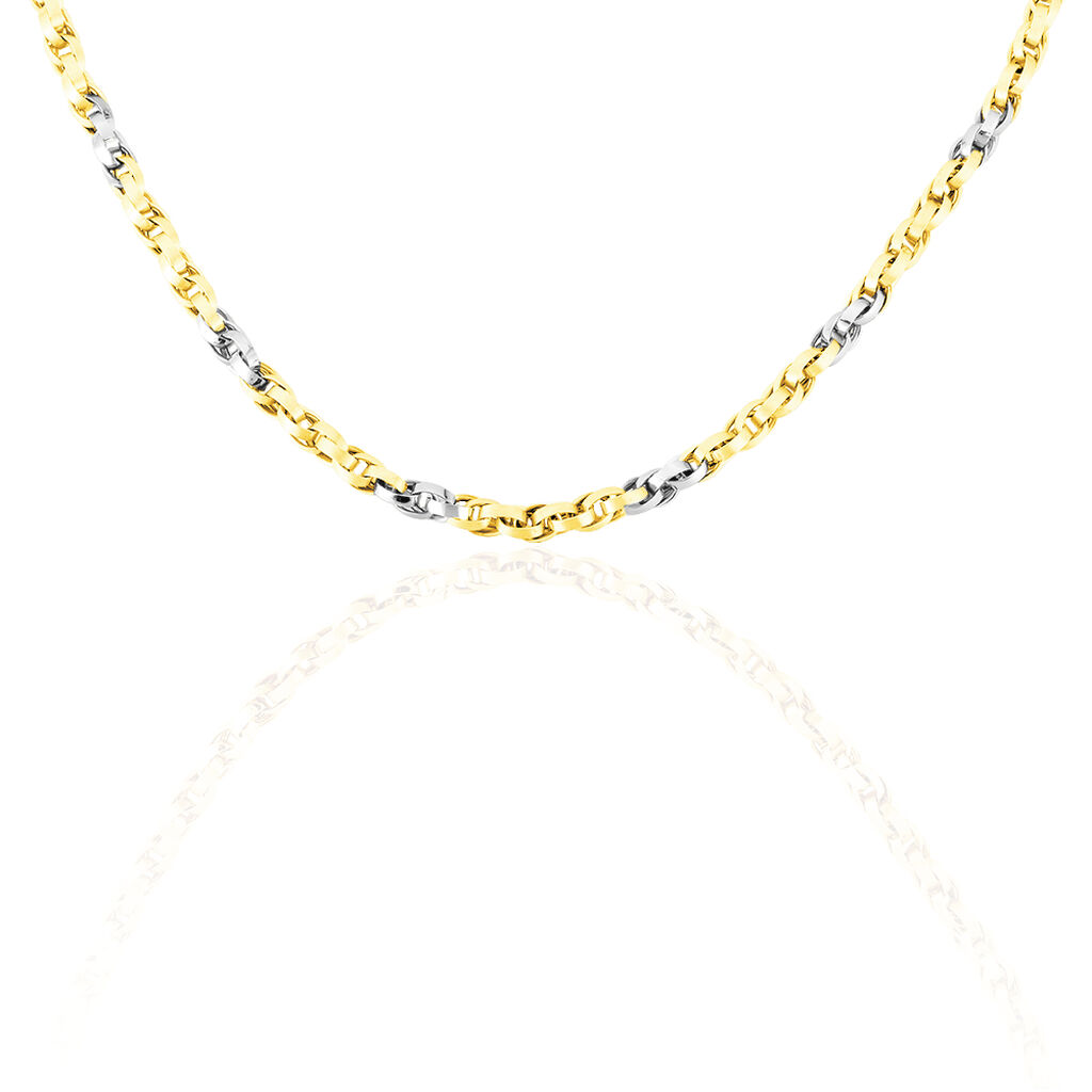 Damen Halskette Gold 585 Bicolor 45cm - Ketten ohne Anhänger Damen   Oro Vivo