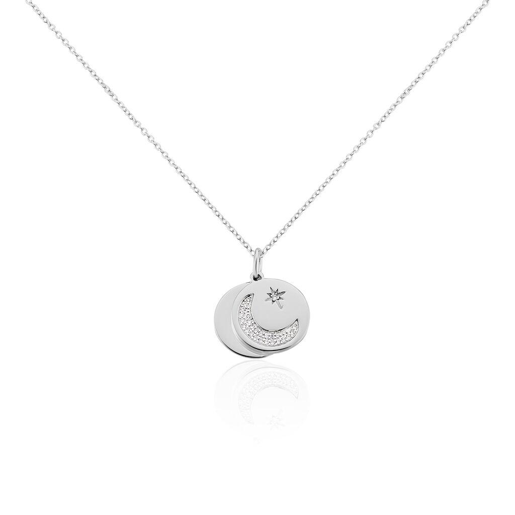 Damen Halskette Silber 925 Rhodiniert Zirkonia - Ketten mit Anhänger Damen | Oro Vivo