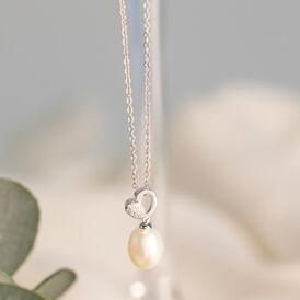 Damen Halskette Silber 925 Zuchtperle Zirkonia - Herzketten Damen   Oro Vivo