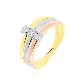 Damenring Gold 375 Tricolor Diamant 0,045ct - Ringe mit Edelsteinen Damen | Oro Vivo