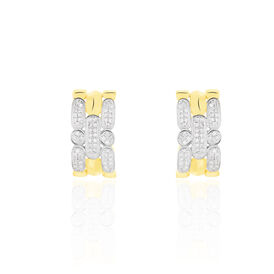 Damen Ohrstecker Gold 375 Bicolor Diamant 0,142ct  -  Damen | Oro Vivo