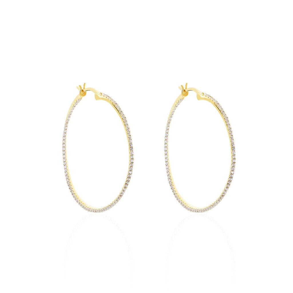 Damen Creolen Silber 925 Vergoldet Zirkonia 40mm - Creolen Damen   Oro Vivo