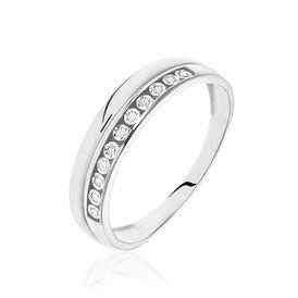 Damenring Weißgold 375 Diamant 0,044ct - Eheringe Damen   Oro Vivo