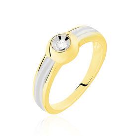Solitärring Gold 375 Bicolor Diamant 0,03ct - Ringe mit Edelsteinen Damen   Oro Vivo