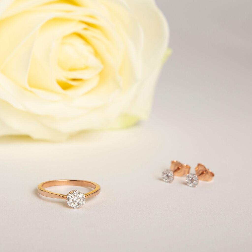 Damen Ohrstecker Gold 375 Rosé Vergoldet Diamanten - Ohrstecker Damen   Oro Vivo