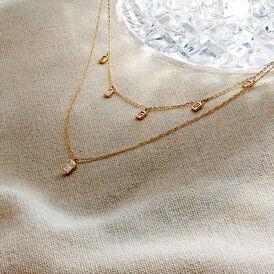 Damen Halskette Gold 375 Zirkonia - Ketten mit Stein  | Oro Vivo