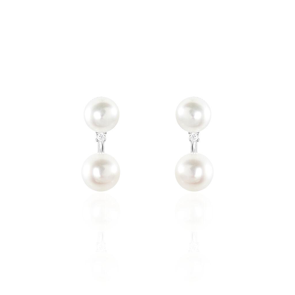 Damen Perlenohrringe Silber 925 Zuchtperlen - Ohrstecker Damen   Oro Vivo