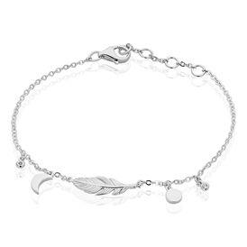 Damenarmband Silber 925 Zirkonia Feder Mond -  Damen   Oro Vivo
