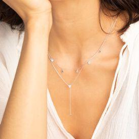 Damen Halskette Weißgold 375 Zirkonia - Ketten mit Stein Damen | Oro Vivo