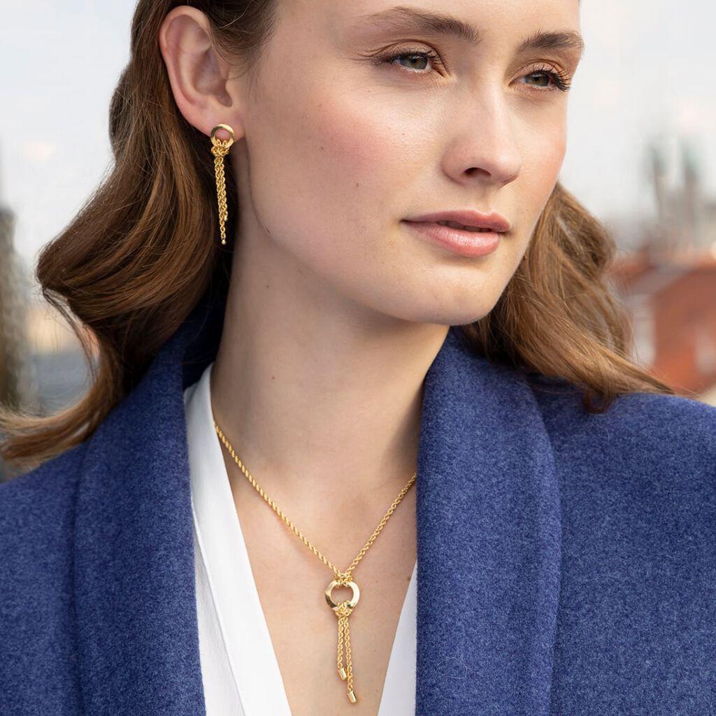 Damen Ohrstecker Lang Gold 375 Kordel - Ohrstecker lang Damen | Oro Vivo