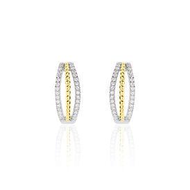 Damen Creolen Gold 750 Bicolor Diamant 0,247ct - Creolen Damen   Oro Vivo
