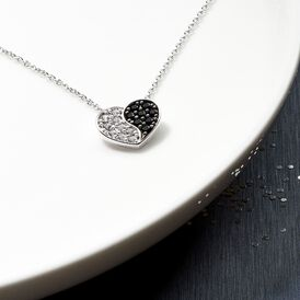 Damen Halskette Silber 925 Zirkonia Schwarz Herz - Herzketten    Oro Vivo