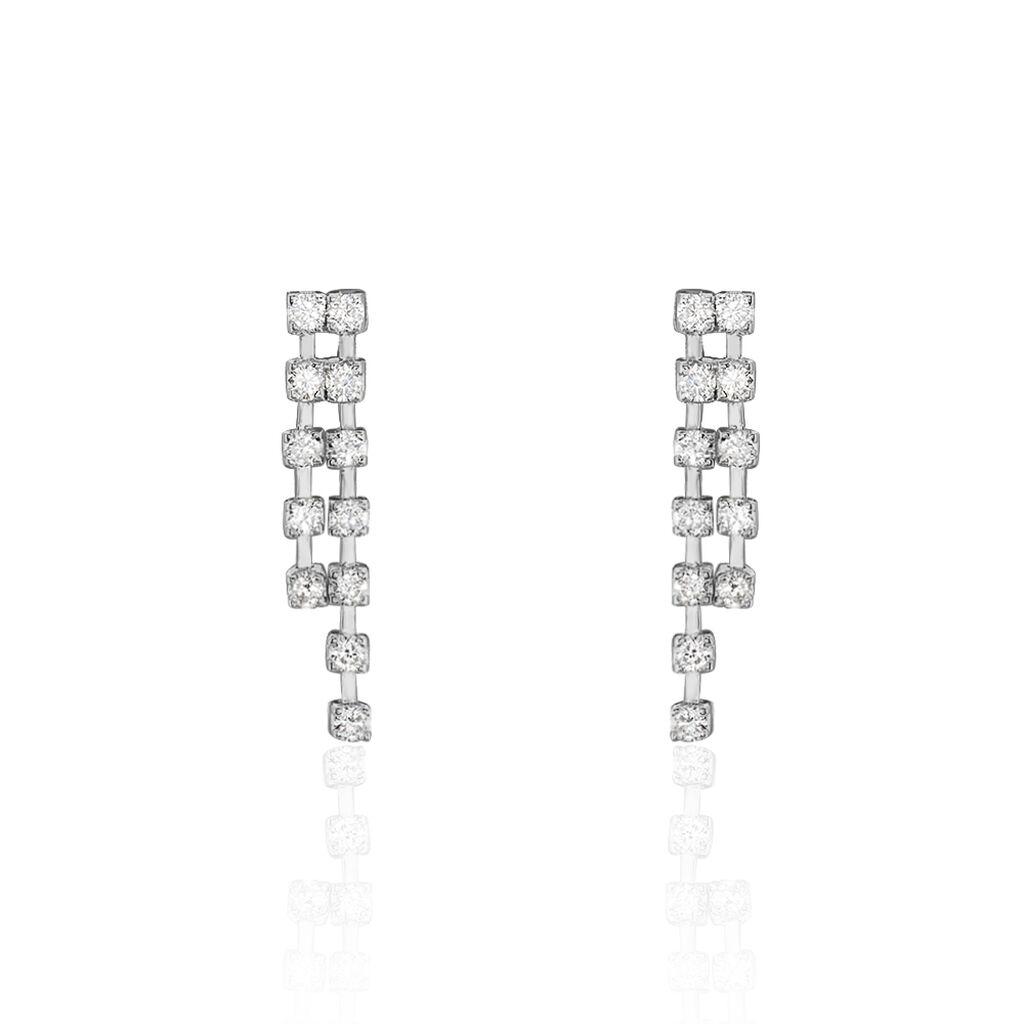 Damen Ohrstecker Lang Weißgold 750 Diamant 0,408ct - Ohrstecker lang Damen   Oro Vivo