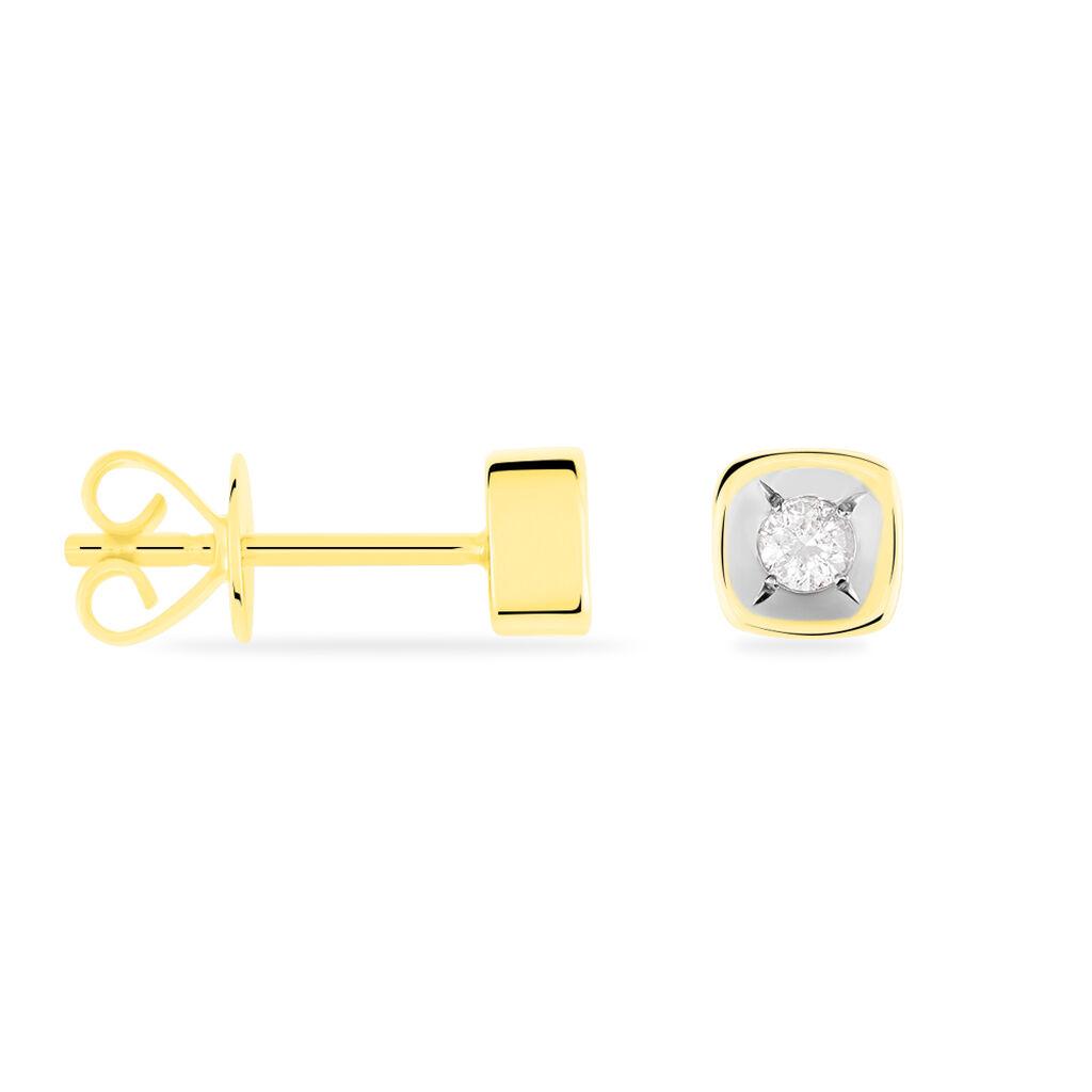 Damen Ohrstecker Gold 375 Diamant 0,08ct 4,5mm - Ohrstecker Damen   Oro Vivo