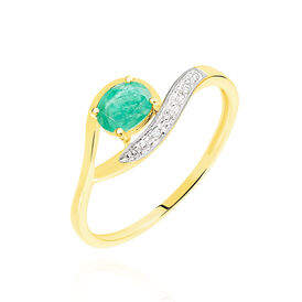 Damenring Gold 375 Smaragd Diamanten 0,04ct - Schmuck Damen | Oro Vivo