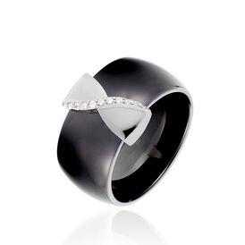 Damenring Silber 925 Zirkonia Schwarzer Keramik - Ringe mit Stein Damen | Oro Vivo