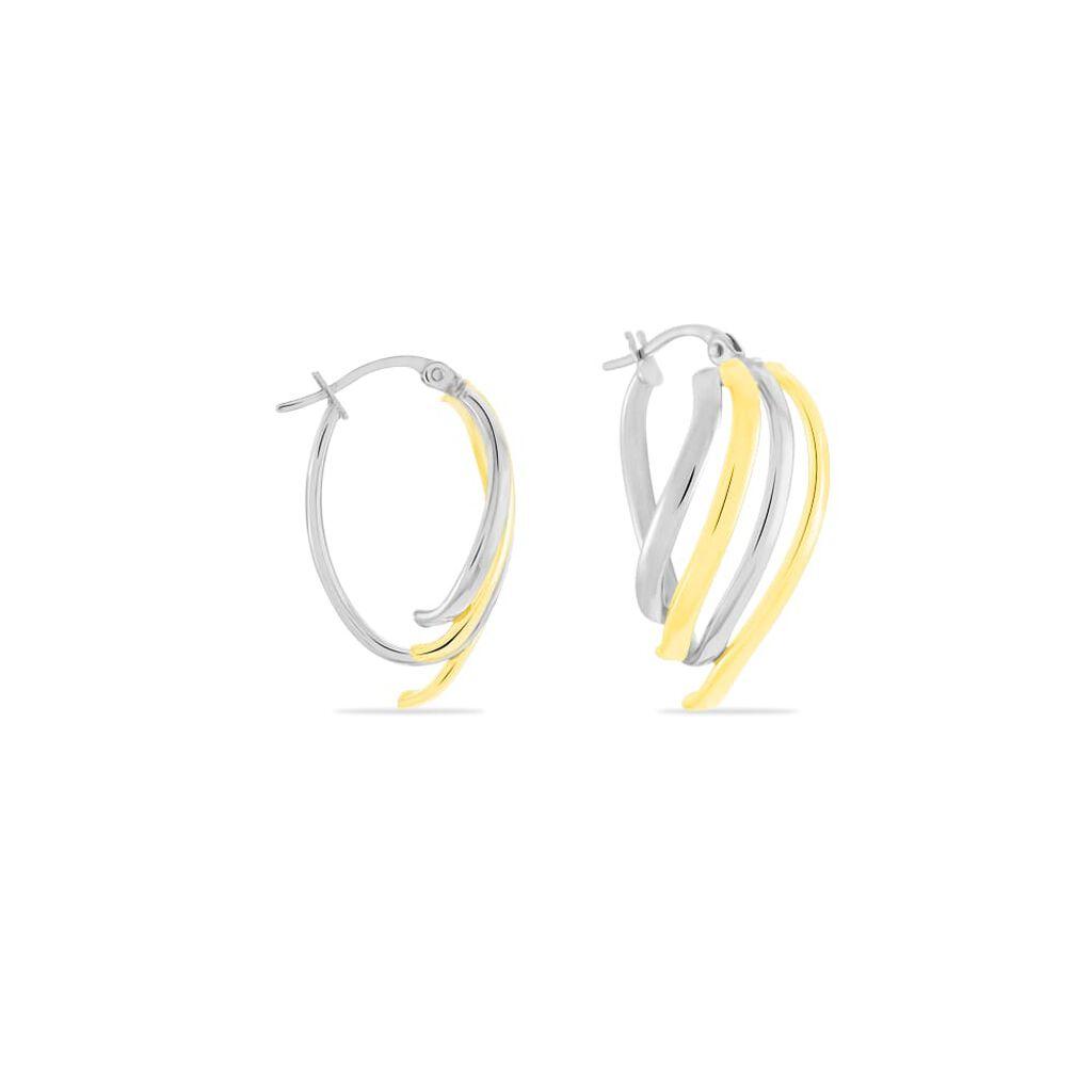 Damen Creolen Gold 375 Bicolor Welle - Creolen Damen | Oro Vivo