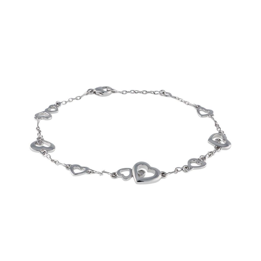 Damenarmband Silber 925 Diamant 0,022ct Herz - Armbänder Damen | Oro Vivo