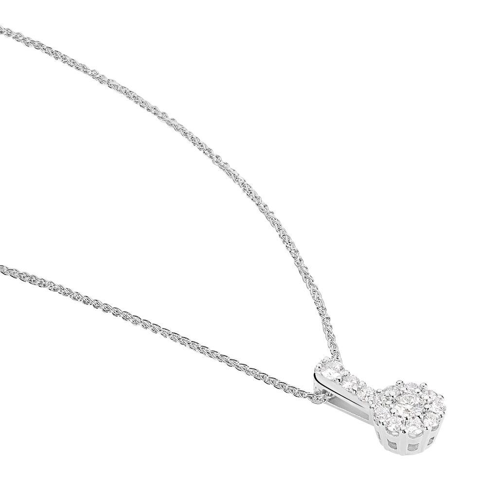 Damen Halskette Weißgold 750 Diamanten 0,5ct - Ketten mit Anhänger Damen | Oro Vivo