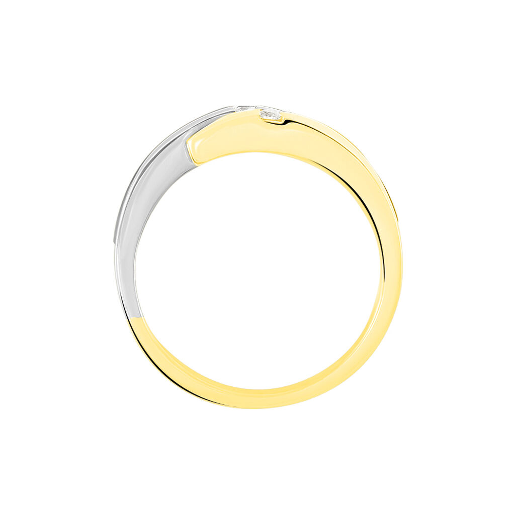 Damenring Gold 585 Bicolor Diamant 0,08ct - Eheringe Damen | Oro Vivo